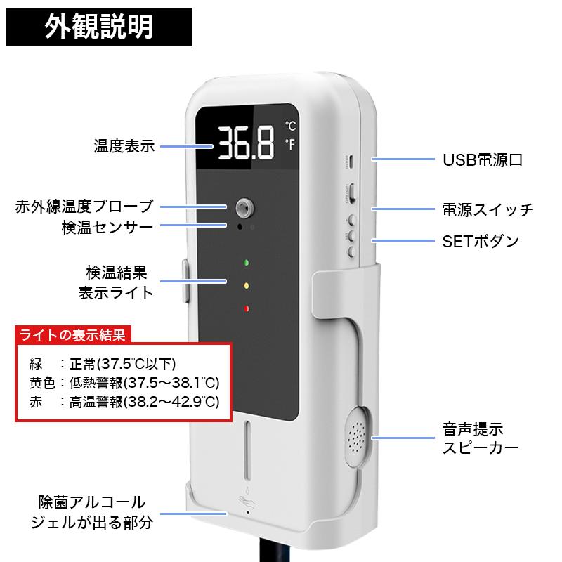 オートアルコールディスペンサー付き検温システムの外観説明